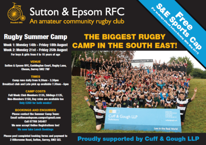 Sutton and Epsom Rugby Summer Camp 2017